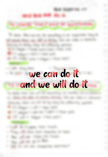 We can do it and We will do it